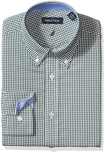 Nautica Men's Classic Fit Button Down Collar Dress Shirt, Green Check, 16 32/33
