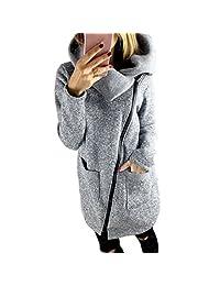 Flank Womens Casual Hooded Jacket Coat Long Zipper Sweatshirt