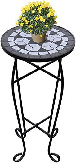 "Tidyard 11.8"" Mosaic Side Table Plant/Accent Table Rack Holder Decor Potted Containers Shelf Display"