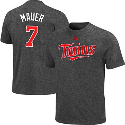 Joe Mauer #7 Majestic Minnesota Twins Granite Player Tee Shirt Big & Tall Sizes (Minnesota Twins Player)