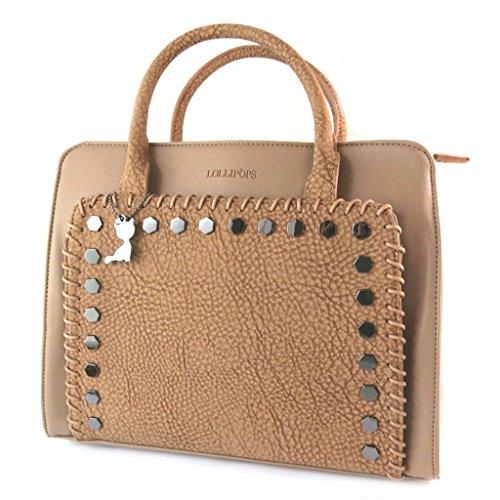 Bolsa de diseñador 'Lollipops'camello - 34x24x10 cm.