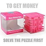 Trekbest Money Maze Puzzle Box - A Fun Unique Way to Give Gifts for Kids and Adults (Pink)