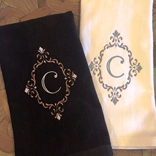 Customized Fleur De Lis Scroll Hand Towel