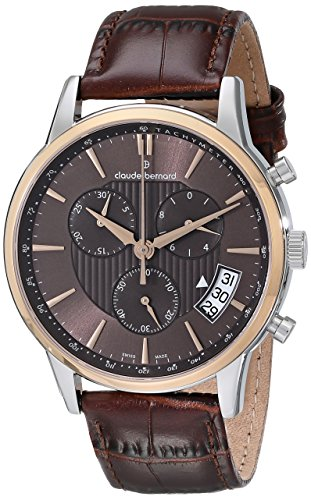Claude Bernard Men's 01002 357R BRIR Classic Chronograph Analog Display Swiss Quartz Brown Watch
