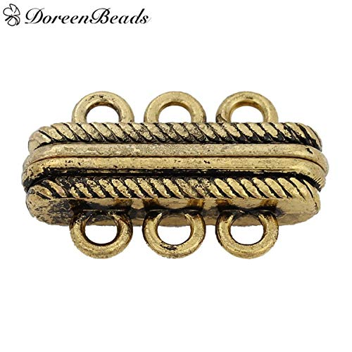 Price comparison product image Clasps for Necklaces Magnetic Metal Magnetic Bracelet Magnetic Clasps Findings for Jewelry Necklace Bracelet Golden Tone Antique Gold Color Stripe Carved 27x17mm, 2 PCs