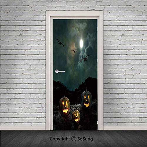 Halloween Door Wall Mural Wallpaper Stickers,Yard of an Old House at Night Majestic Moon Sky Creepy Dark Evil Face Pumpkins Decorative,Vinyl Removable 3D Decals 30.4x78.7/2 Pieces set,for Home Decor M ()