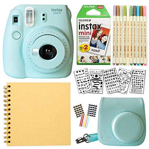Fujifilm Instax Mini 9 Instant Camera (ICE Blue) + Fuji INSTAX Film (20 Sheets) + Bundle with: Groovy Camera Case + Scrapbook Photo Album + Stencils + Metallic Markers + Photo Corners