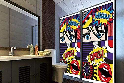 "Decorative Privacy Window Film, 35.43""H x 23.62""W for Home&OfficeArt,Comic Book Inspired Style Wooow Omg Eyes Reading Panels Lines Excitement Action Print,Multicolor,35.43""H x 23.62""W for Home"