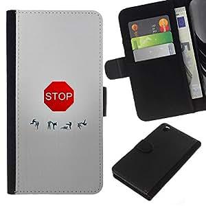 All Phone Most Case / Oferta Especial Cáscara Funda de cuero Monedero Cubierta de proteccion Caso / Wallet Case for HTC DESIRE 816 // FUNNY - STOP SIGN