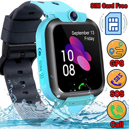 [SIM Card Included] Kids Smart Watch GPS Tracker - Kids Smart Watch Phone Waterproof with SOS Call Anti-Lost Touch Screen Voice Chat Learning Games Watch Back to School Gift for Boys Girls