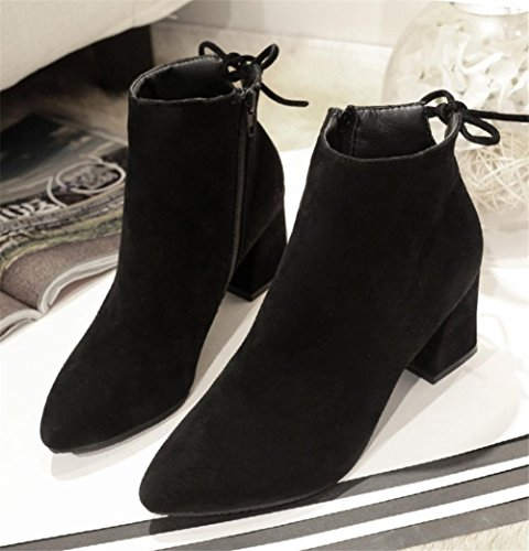 NVXIE Women's Short Boots Suede Plus Cashmere Warm Rough Heel Bow tie Black Brown Fall Winter Party Work EUR40UK7 X5nOCh