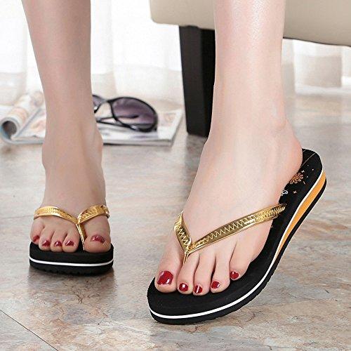 Antideslizantes Chancletas Elegantes Suelas y Maternidad de Suaves de Casuales AJZGF Oro y Sandalias con y Chancletas Zapatos Playa 1w0dxqw7S