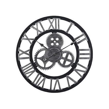 Amazon Com European Retro Wall Mounted Clock Round Mute Retro Wood