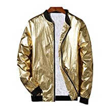 Hzcx Fashion Men's Gold And Silver Shiny Lightweight Slim Fit Bomber Jackets