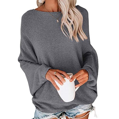 Pepochic Womens Oversized Pullover Sweater Casual V Neck Batwing Sleeve Knitted Loose Jumper Tunic Tops