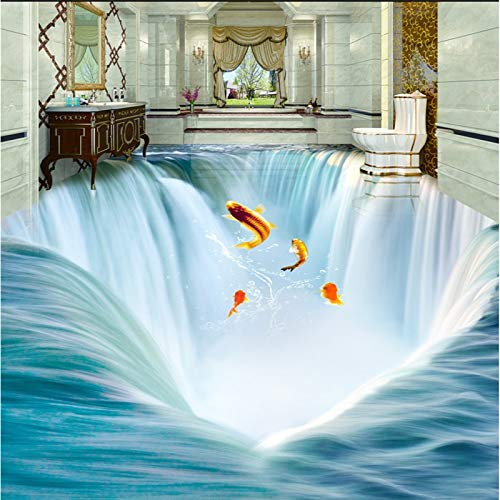 Dimensional Waterfall - Large Custom Flooring Waterfall Water 3D Floor Tiles Three-Dimensional Painting Thick Painted Papel De Parede-L140Xw70Cm