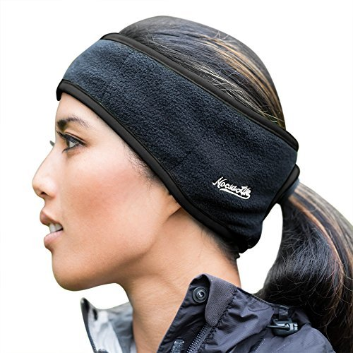 Fleece Headband Ear Warmer - Noosa Life | Ponytail Headband | 3 Colors | Warm Fleece for Outdoor Sports and Fitness | Ear Warmer & Sweatband | Super Sweat Absorbent | Perfect for Running or Yoga,Black