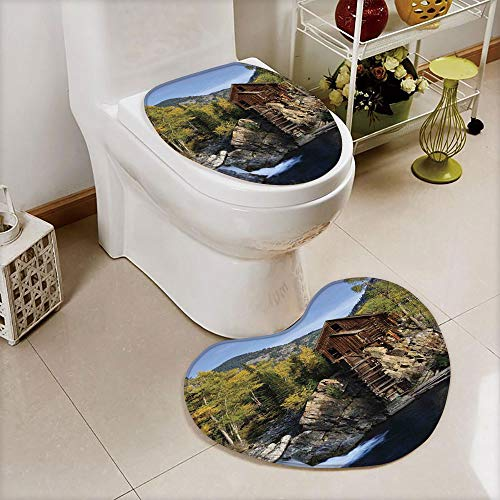 iPrint 2 pcs Toilet Cover Set Non-Slip mat Bathroom Non-Slip mat,in Woods River Waterfall Forest Mill Mountain,3D Print Heart Shape Toilet seat Cushion Customized Fashion