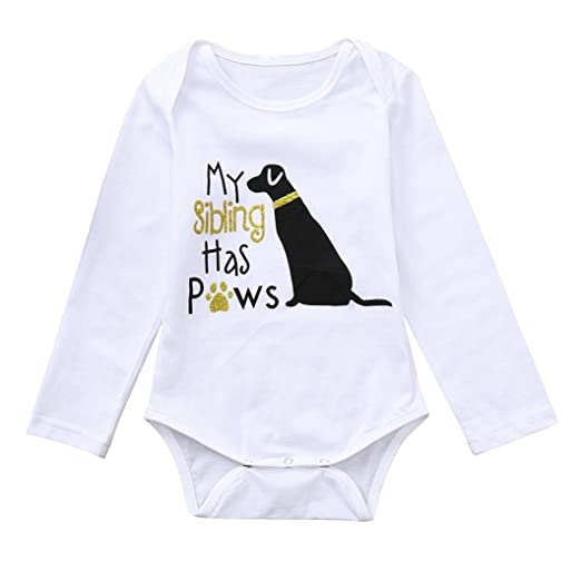 9788db3b77f9 Amazon.com  Hatoys Rompers Baby Girl Boys Letter Dog Jumpsuit ...
