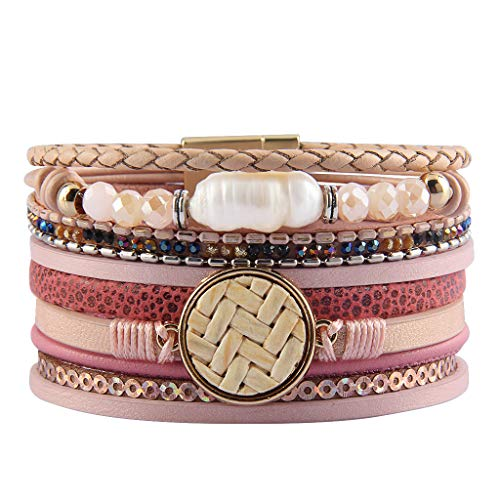 Jenia Leather Wrap Around Bracelet Multi Rope Boho Bracelets Cuff Bracelets Baroque Pearls Handmade Bohemian Jewelry for Women, Teens Girl, Daughter, Sister Gifts ()