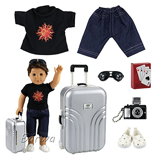 Barwa Boy Doll Clothes Lot 7 items = Clothes Shoes Silver Suitcase Camera with Sunglasses and Play Card for 18 Inch American Girl & Boy Dolls Logan Doll Outfits