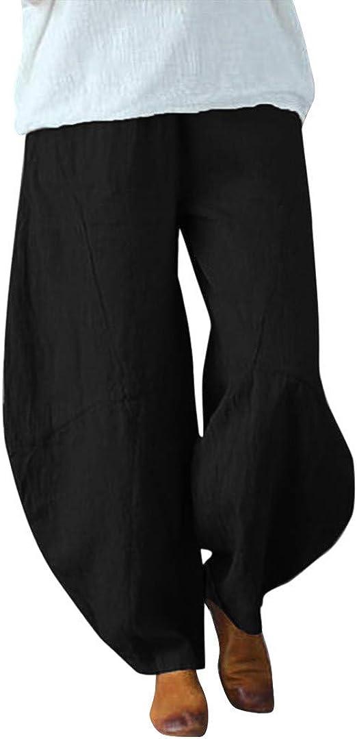 cinnamou Pantalones Mujer, Casual Pantalones Chinos Anchos Sueltos ...