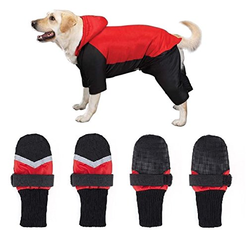 DOG SNOWSUIT & BOOT SETS - Red or Blue Snow Suit with FREE Matching Snowboots !(xxLarge Red)