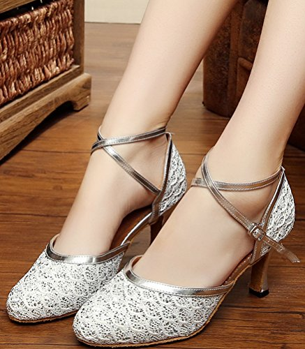 Tango Toe Mid Shoes Strap Dance EU Party Heel Silvery 7069 Womens Closed Latin PU Wedding Lace 41 AQQ X BOxqX0Z8wO