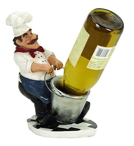 Chef With Bucket Wine Bottle Holder 10x7 (Wine Holder Utensil Barrel)