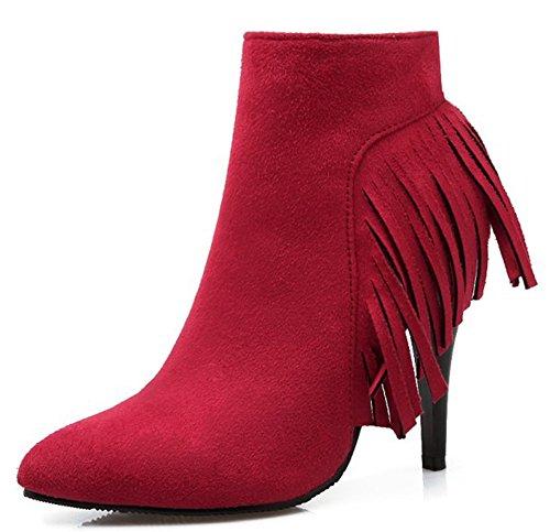 Idifu Kvinner Elegant Frynser Tasseled Spiss Tå Høye Hæler Stiletto Side  Zippe Ankel Boots Red