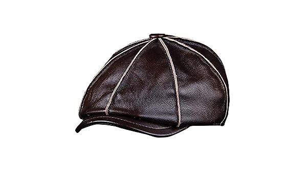 b81bb6dc819 Amazon.com  ForShop Men s Genuine Leather Warm Octagonal Cap