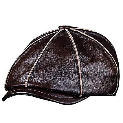 cbf9402d4e2 Image Unavailable. Image not available for. Color  ForShop Men s Genuine  Leather Warm Octagonal Cap