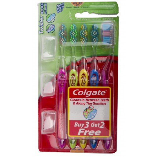 COLGATE Toothbrush TWISTER MODEL;3 Get 2 Freeh- 5 Count (Colors May Vary),With unique Twister Bristle Pattern, it cleans in-between teeth and along the gumline (Send you happiness)