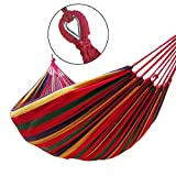 GOCAN Brazilian Double Hammock 2 Person Extra Large Canvas Cotton Hammock for Patio Porch Garden Backyard Lounging Outdoor and Indoor