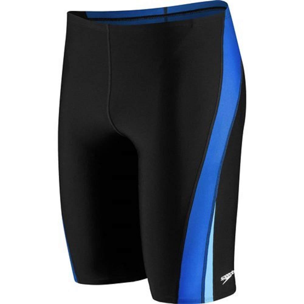 Speedo Men and Boys' Endurance+ Launch Splice Jammer Swimsuit, Black/Blue, 22