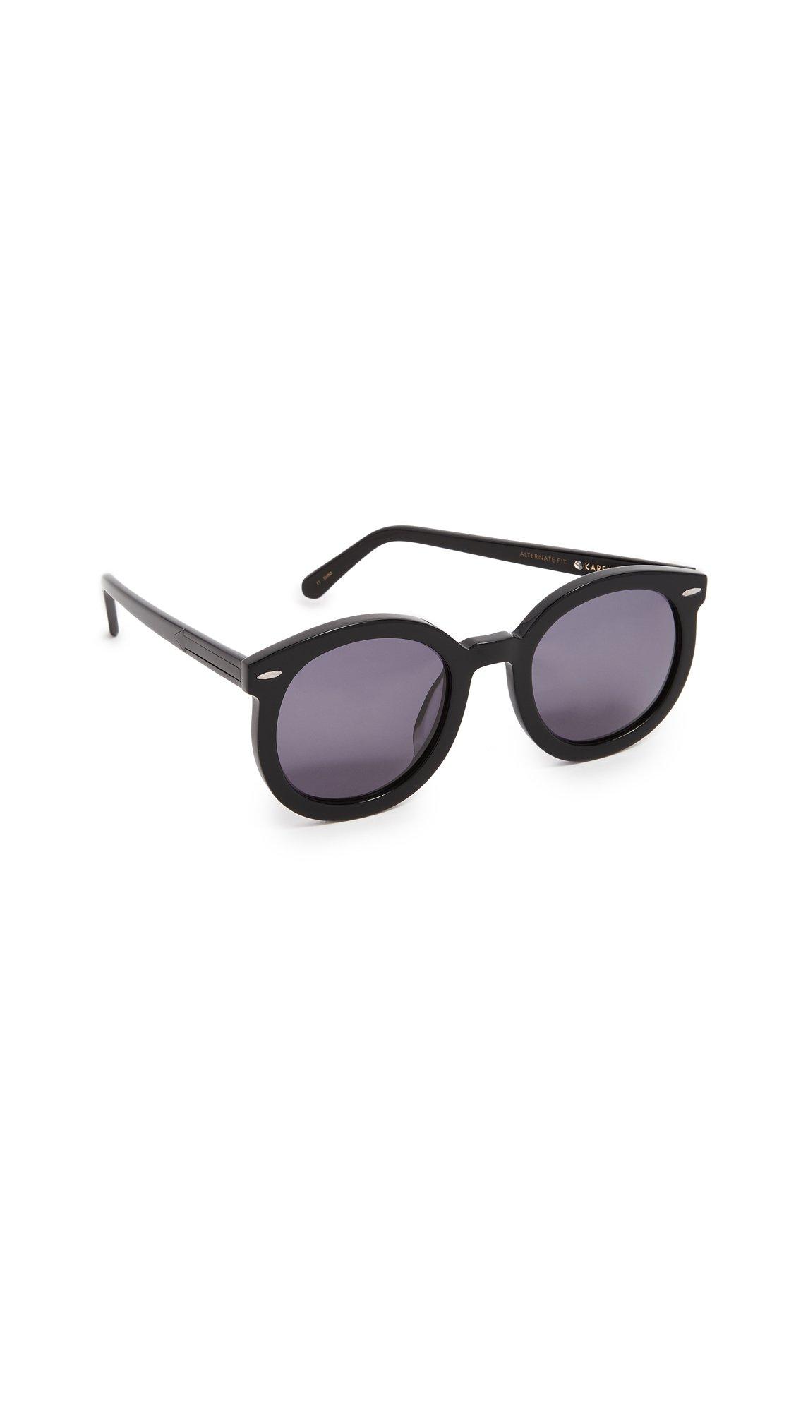 Karen Walker Women's Special Fit Super Duper Strength Sunglasses, Black/Smoke Mono, One Size