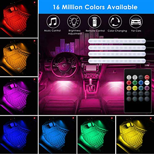 AveyLum Car LED Strip Lights USB 5V 4pcs Auto Interior Music Sync Underdash Footwell Lighting Kit RGB 5050 SMD LED Tape Light