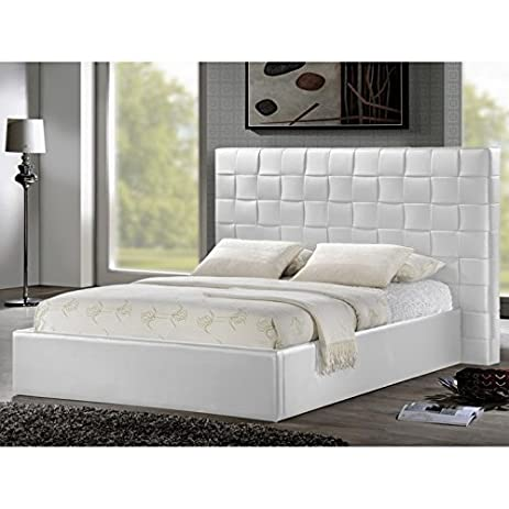 Amazon.com: BXS- PRENETTA Modern White Leather Upholstered Bed With ...
