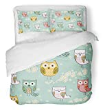 Emvency 3 Piece Duvet Cover Set Breathable Brushed Microfiber Fabric Pink Baby Cute Floral with Owls Colorful Graphic Girl Cartoon Drawing Spring Funny Bedding Set with 2 Pillow Covers King Size