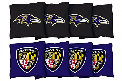 Victory Tailgate Baltimore Ravens NFL Cornhole Game Bag Set (8 Bags Included, Corn-Filled)