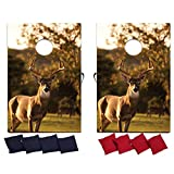 VictoryStore Cornhole Games - Hunting Buck Cornhole Game - Deer Bag Toss Game - 8 Bags Included - Wooden Boards