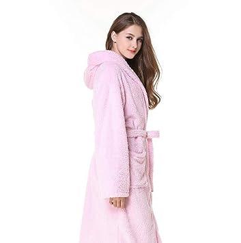 Vestido Camisero de Terciopelo de Coral con un camisón Largo Batas súper Suaves de Felpa cálidas más largas (Color : Pink, Tamaño : Metro): Amazon.es: Hogar