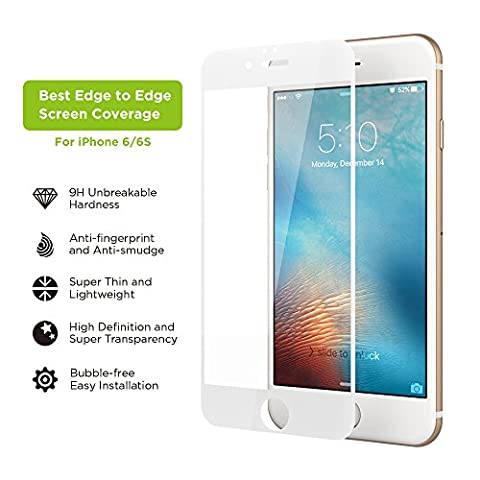 iPhone 6/6S Screen Protector, Simpiz Shield Crystal Clear Ultra Thin Touchscreen Accuracy Hard 9H Tempered Glass Screen Cover for iPhone 6 and iPhone 6S - With Edge to Edge White (Iphone 4s Privacy Screen 3m)