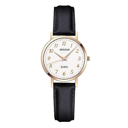 Relojes Mujer con Correa de Cuero, Grande Escala de Números Arábigos Relojes de Pulsera clásicos, Negro: Amazon.es: Relojes