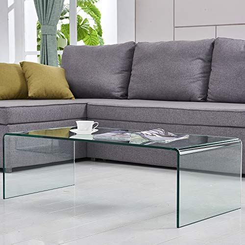 2019 Clear Coffee Table Thick Tempered Glass Corner Desk Sofa Side Small Bent End Table(Clear)