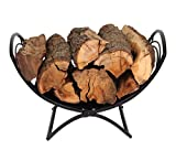 Patio Watcher Small Decorative Folding Log Bin Firewood Rack Log Rack Firewood Storage Log Holder for Indoor Outdoor Backyard Fireplace Heavy Duty Steel Black