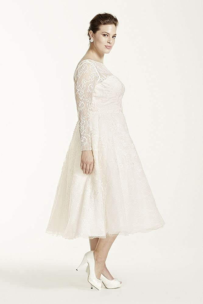 Davids Bridal Plus Size Oleg Cassini Long Sleeved Tea Length Wedding
