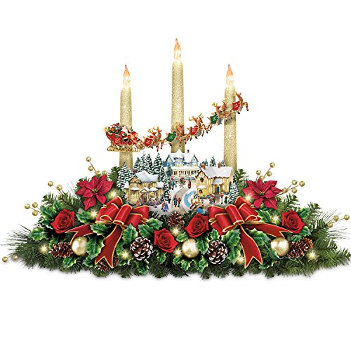 Thomas Kinkade The Lights Of Christmas Illuminating Village Table Centerpiece by The Bradford Exchange
