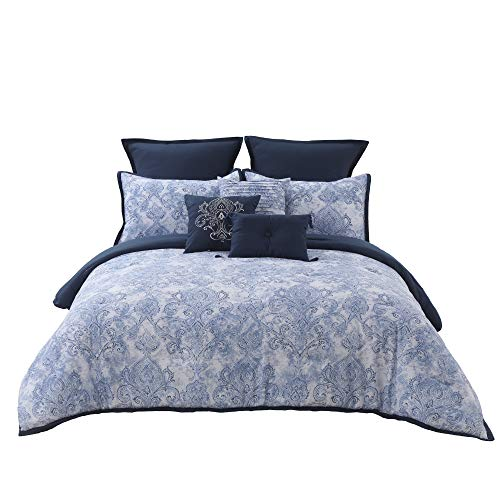 Blue Lightweight Comforter Set Queen(90x90), 9 Pieces Watercolor Elegant Summer Bedspread Filled with Plush Polyester, Super Soft Bedding Set with Dec Pillows, Bedskirt
