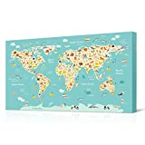 art for kids rooms VVOVV Wall Decor Animal World Map Nursery Decor World Map Pictures Animal Poster Prints Art Kids Room Bedroom Decor Giclee Canvas Prints Stretched and Framed 20x36inch